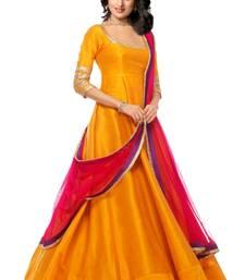 Buy Orange embroidered silk salwar bangalore-silk-salwar-kameez online