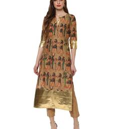 Buy Beige printed cotton kurtas-and-kurtis kurtas-and-kurtis online