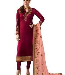 Buy Maroon embroidered satin salwar festive-salwar-suit online