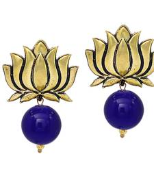 Buy Handmade Gold Plated Lotus Shape Oxidised With Blue Color Stud Drop Earring For Girls  and  Women Earring online