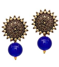 Buy Sun Shape With Blue Color Beads Gold Plated Oxidized Stud Drop earring Earring online