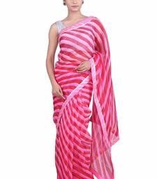 Buy Red printed pure cotton silk saree with blouse leheriya-saree online