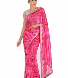 Buy Pink printed pure georgette saree with blouse leheriya-saree online