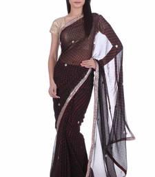 Buy Black printed pure georgette saree with blouse leheriya-saree online