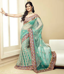Buy Light Green Embroidered Soft Net Zareen Khan Bollywood Saree With Blouse wedding-season-sale online