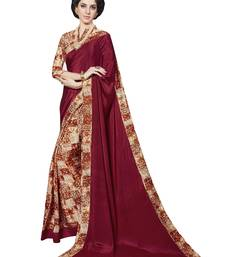 Buy Maroon printed silk saree with blouse printed-saree online