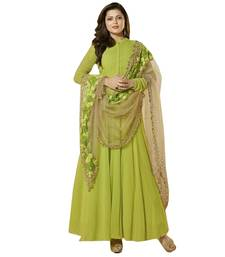Buy Green embroidred faux georgette semi stitched salwar with dupatta semi-stitched-salwar-suit online