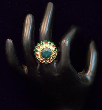 Kundan, Colored Stone Ring, Adjustable