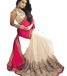 Buy Cream embroidered georgette saree with blouse fancy-saree online