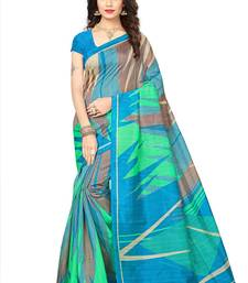 Buy Multicolor printed cotton silk saree with blouse below-500 online