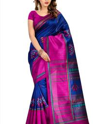 Buy Blue printed cotton silk saree with blouse below-500 online