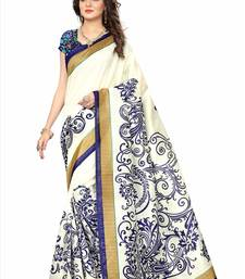 Buy White printed cotton silk saree with blouse below-500 online