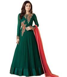 Buy Green embroidered georgette salwar semi-stitched-salwar-suit online