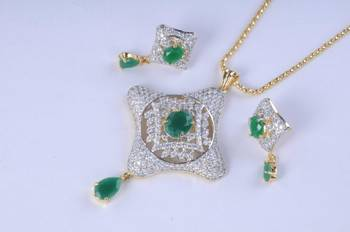 Gold Plated Diamond Pendant Set