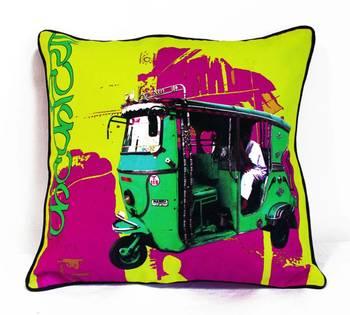 Green Taxi Cushion Cover