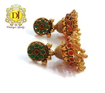 Temple jewelry red green jhumka