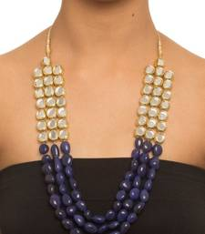 Buy Gold plated uncut kundan with blue tumble stone three line necklace Necklace online