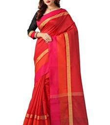Buy Red woven cotton silk saree with blouse bangalore-silk-saree online