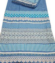 Buy Kromé aegean blue coloured with lace and border work semi stitched rida dress rida online
