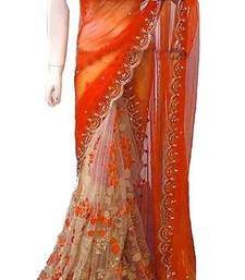 Buy Orange embroidered georgette saree with blouse ethnic-saree online