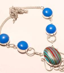 "Buy Rainbow calsilica gemstone 925 silver necklace 16-18"" gemstone-necklace online"
