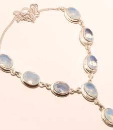 "Buy Milky opal gemstone 925 silver necklace 16-18"" gemstone-necklace online"