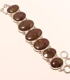 """Buy Rainforest jasper gemstone 925 silver handmade bracelet 7-8"""" gemstone-bracelet online"""