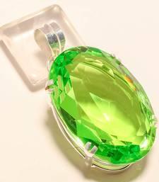 "Buy Green peridot gemstone 925 silver jewelry pendant 2.15"" gemstone-pendant online"