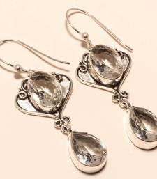 """Buy White topaz gemstone 925 silver jewelry earring 2.38"""" gemstone-earring online"""