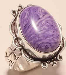 Buy Charoite gemstone 925 silver handmade jewelry ring 7 gemstone-ring online