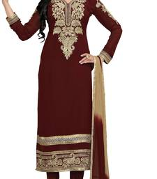 Buy Maroon embroidered faux georgette semi stitched salwar with dupatta anarkali-salwar-kameez online