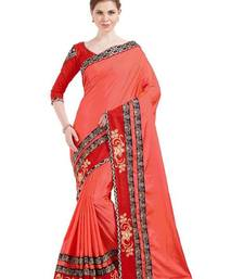 Buy Indian women red designer patch and stone and floral design Raw Silk saree with blouse party-wear-saree online