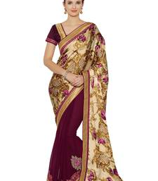 Buy Indian women multicolor Half and Half Sari and Floral Print Raw Silk saree with blouse satin-saree online