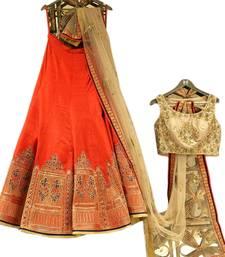 Buy Orange embroidered silk unstitched lehenga ethnic-lehenga online