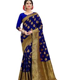 Buy Blue woven banarasi silk saree with blouse banarasi-silk-saree online