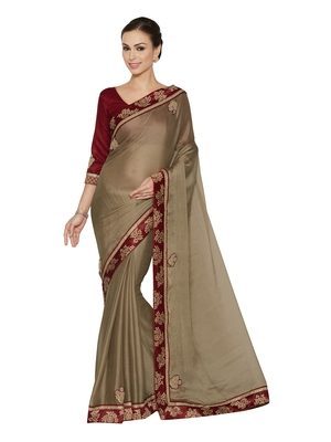 Indian women Brown Designer Saree with Heavy Work Raw Silk saree with blouse
