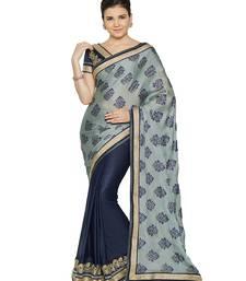 Buy Indian women Grey Half and Half Sari Raw Silk saree with blouse party-wear-saree online