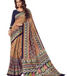 Buy Brown printed silk saree with blouse printed-saree online