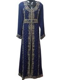 Buy Blue Beads and Stone Work Georgette Hand Stiched Arab Moroccan Kaftan islamic-kaftan online