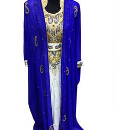 Buy Blue and White Beads and Stone Work Georgette Hand Stiched Arab Moroccan Jacket Kaftan islamic-kaftan online