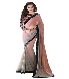 Buy Multicolor plain georgette saree with blouse bollywood-saree online