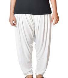 Buy white Solids Womens   wear patialas-pant online