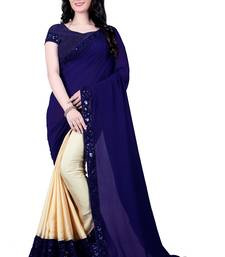 Buy Blue embroidered silk saree with blouse bollywood-saree online