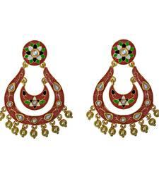 Buy Designer meenakari kundan gold plated blue brass fashion dangler earrings fro women Earring online