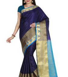 Buy Navy blue hand woven art silk saree with blouse south-indian-saree online