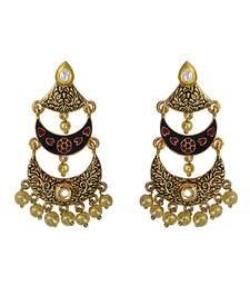 Buy Antique Meenakari gold plated kundan brass three layer bali dangler earring set for women Earring online