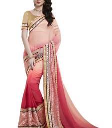 Buy Pink plain viscose saree with blouse viscose-saree online