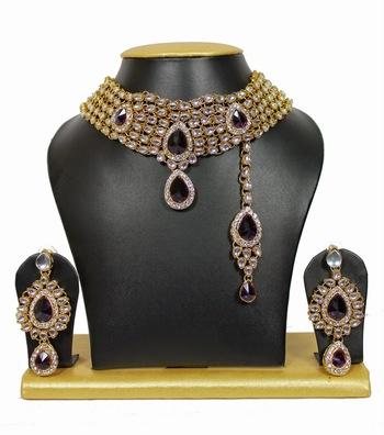 5-Line Attractive Kundan Chocker Necklace Set in Purple