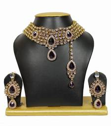 Buy 5-Line Attractive Kundan Chocker Necklace Set in Purple black-friday-deal-sale online
