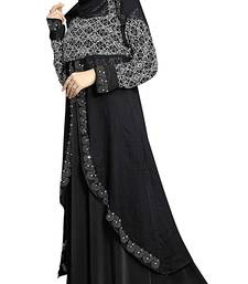 Buy Black Color Lycra Printed Burkha With Koti Style  and  Hijab Scarf burka online